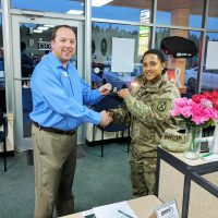 Omni Financial Evans Mills, NY: Customer SGT Daishani Williams with General Manager David Boyle