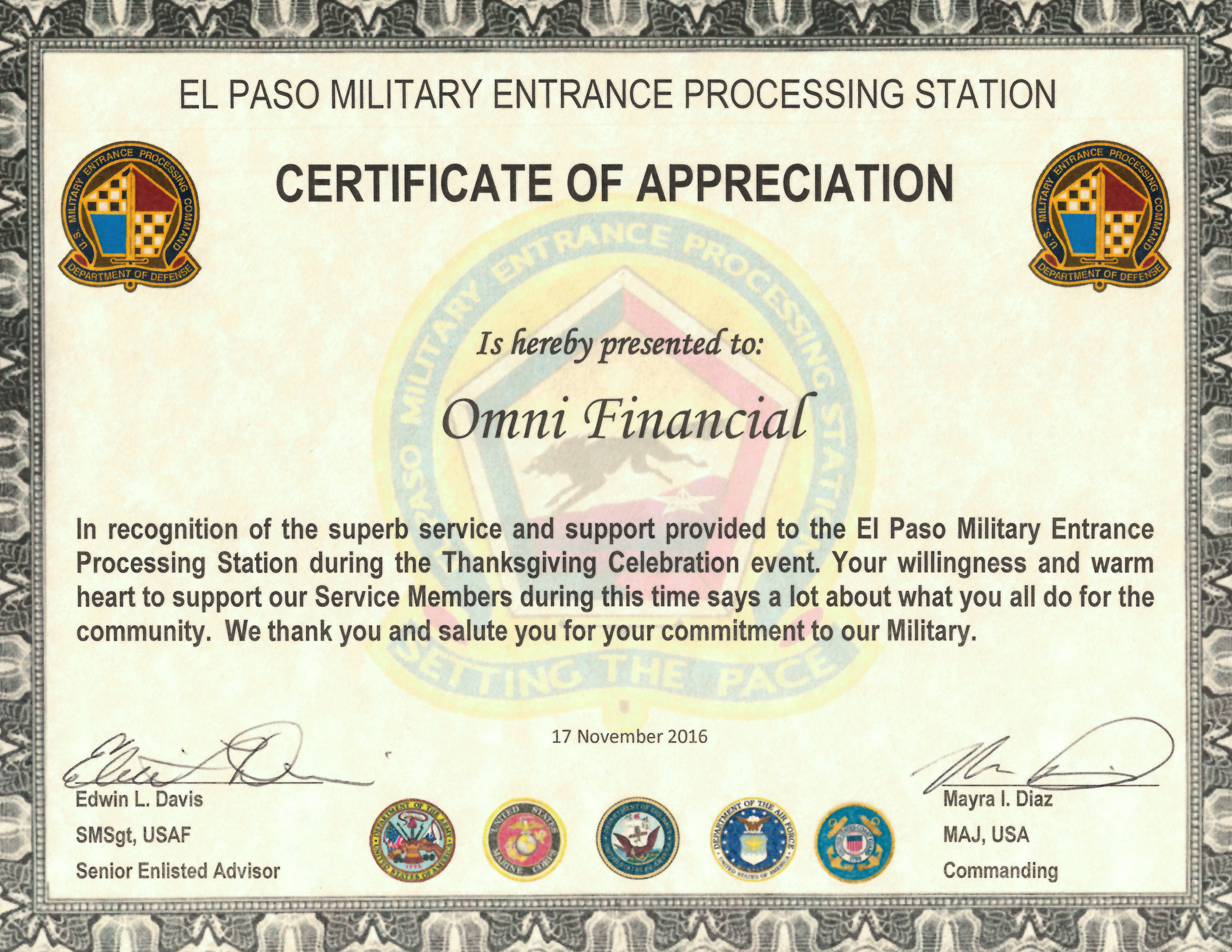 Omni military loans in el paso tx el paso military entrance processing station certificate of appreciation yadclub