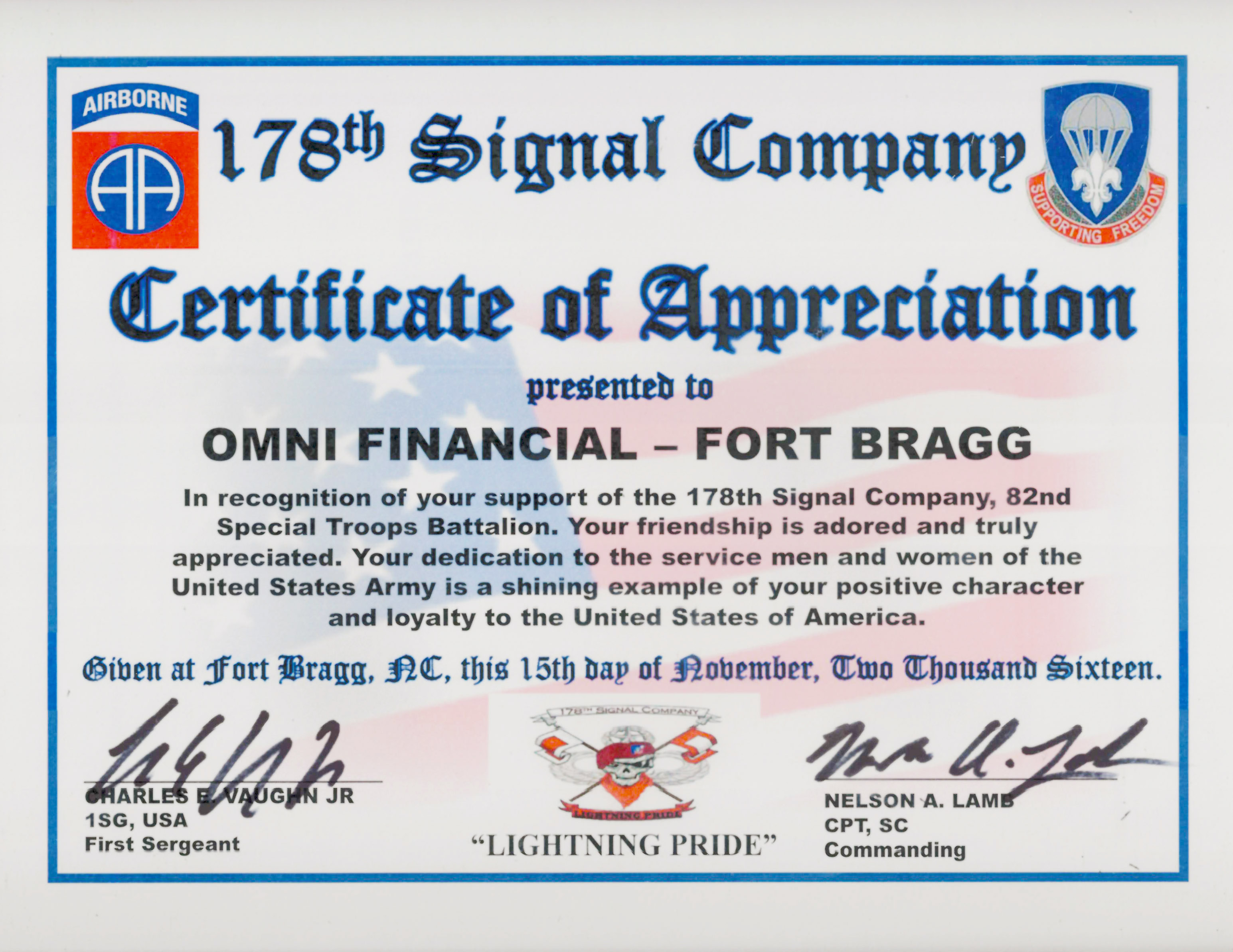 178th Signal Company Certificate of Appreciation