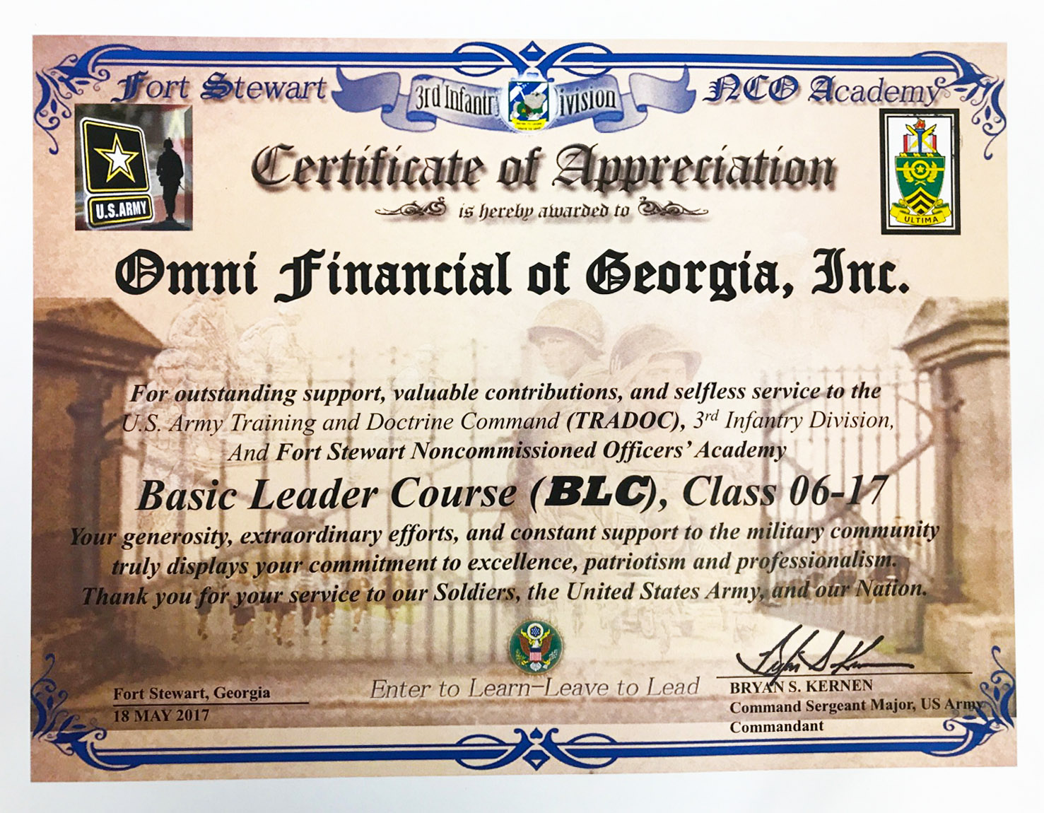 Felicitation certificate template image collections templates army certificate of appreciation coupon template free generic omni military loans in hinesville ga 3rd infantry xflitez Image collections