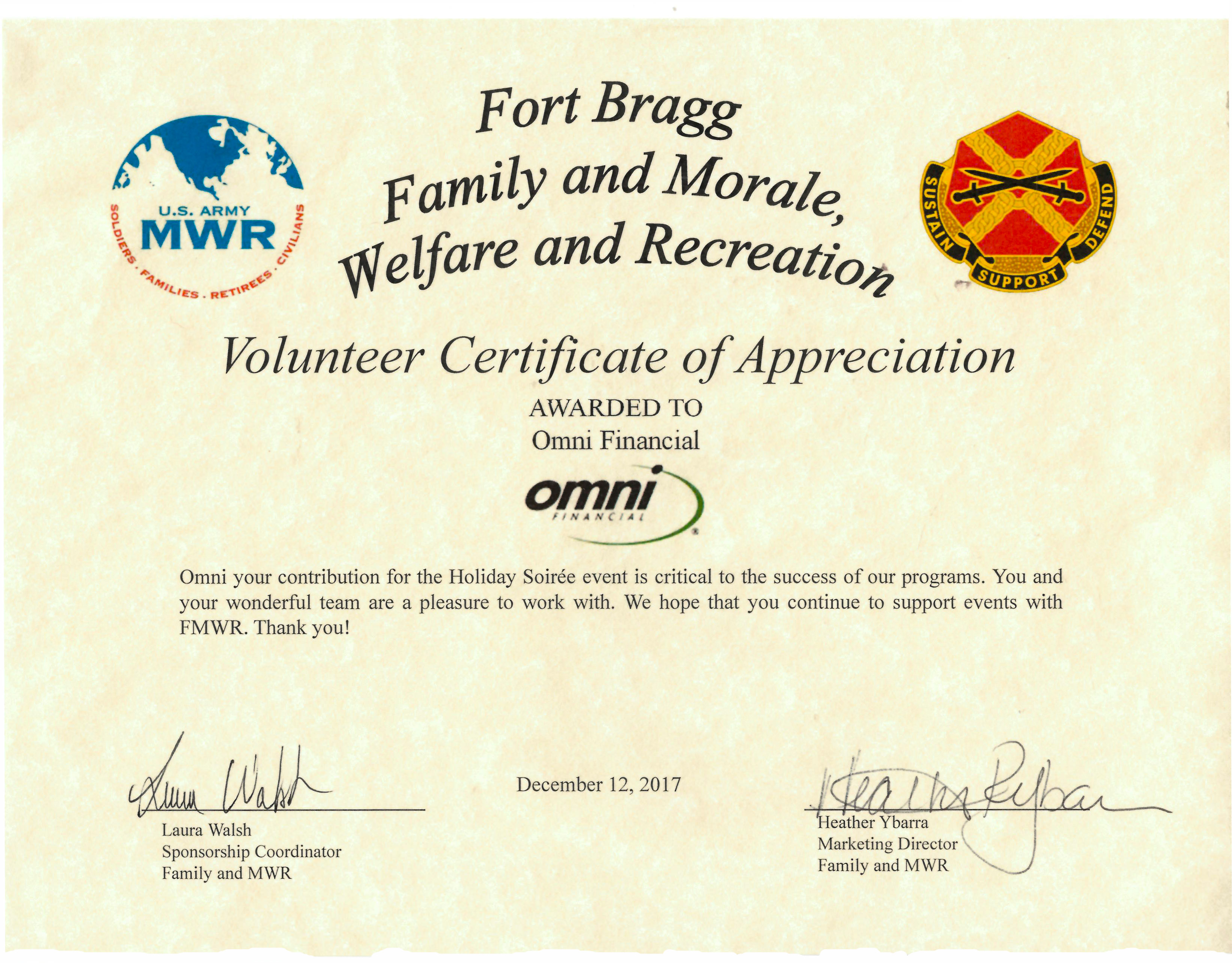 accolades archive omni financial® fort bragg mwr volunteer certificate of appreciation holiday soiree 2017
