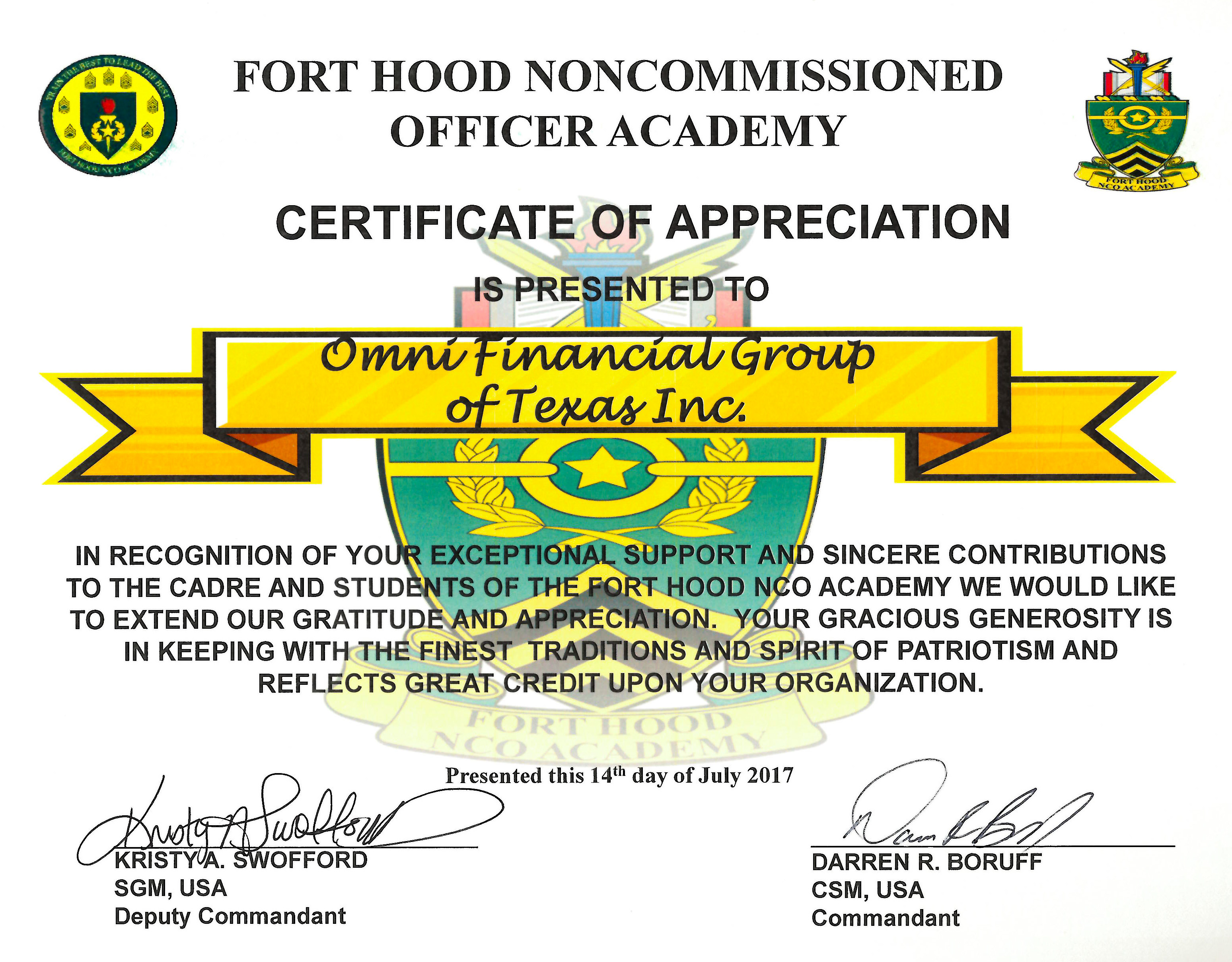 Fort Hood Noncommissioned Officer Academy Certificate of Appreciation July 2017