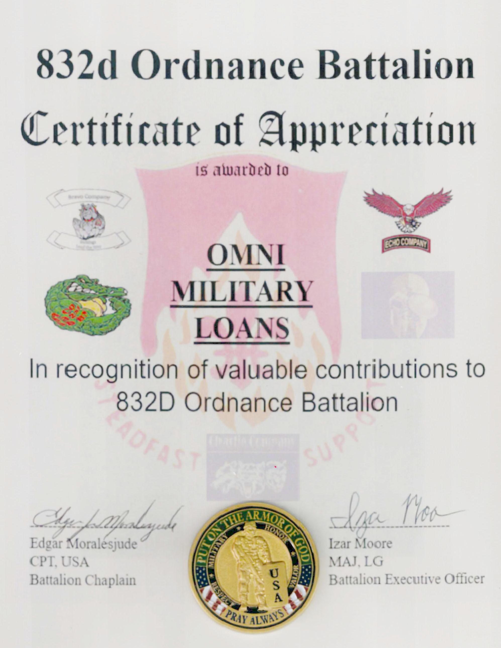 Omni military loans in prince george va 832nd ordnance battalion certificate of appreciation jan 2018 xflitez Choice Image