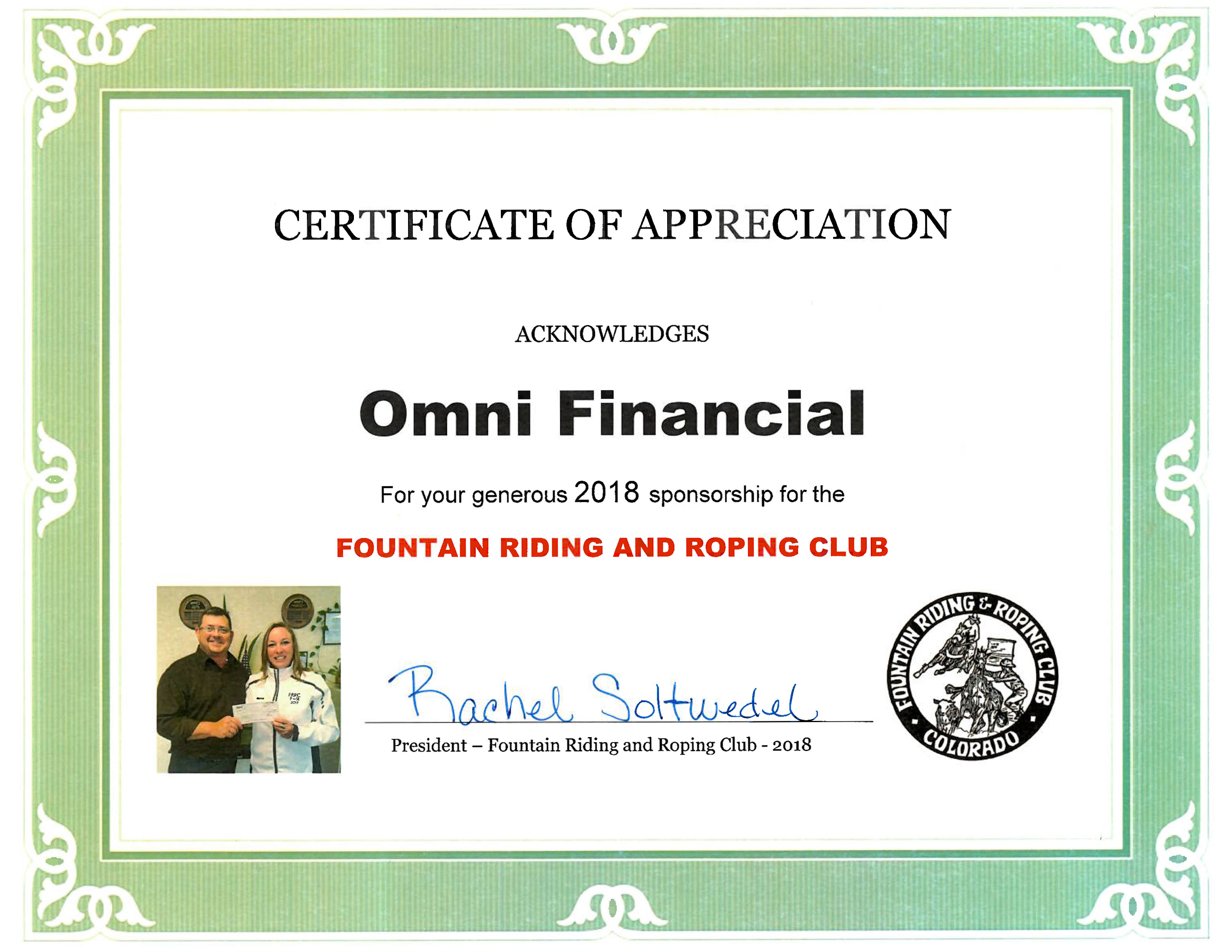 Certificate of Appreciation from the Fountain Roping and Riding Club in Colorado Springs given to Omni Financial