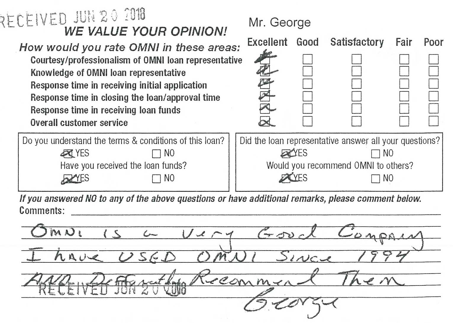 Comment card received for the Omni office in Columbus, GA on June 20th 2018