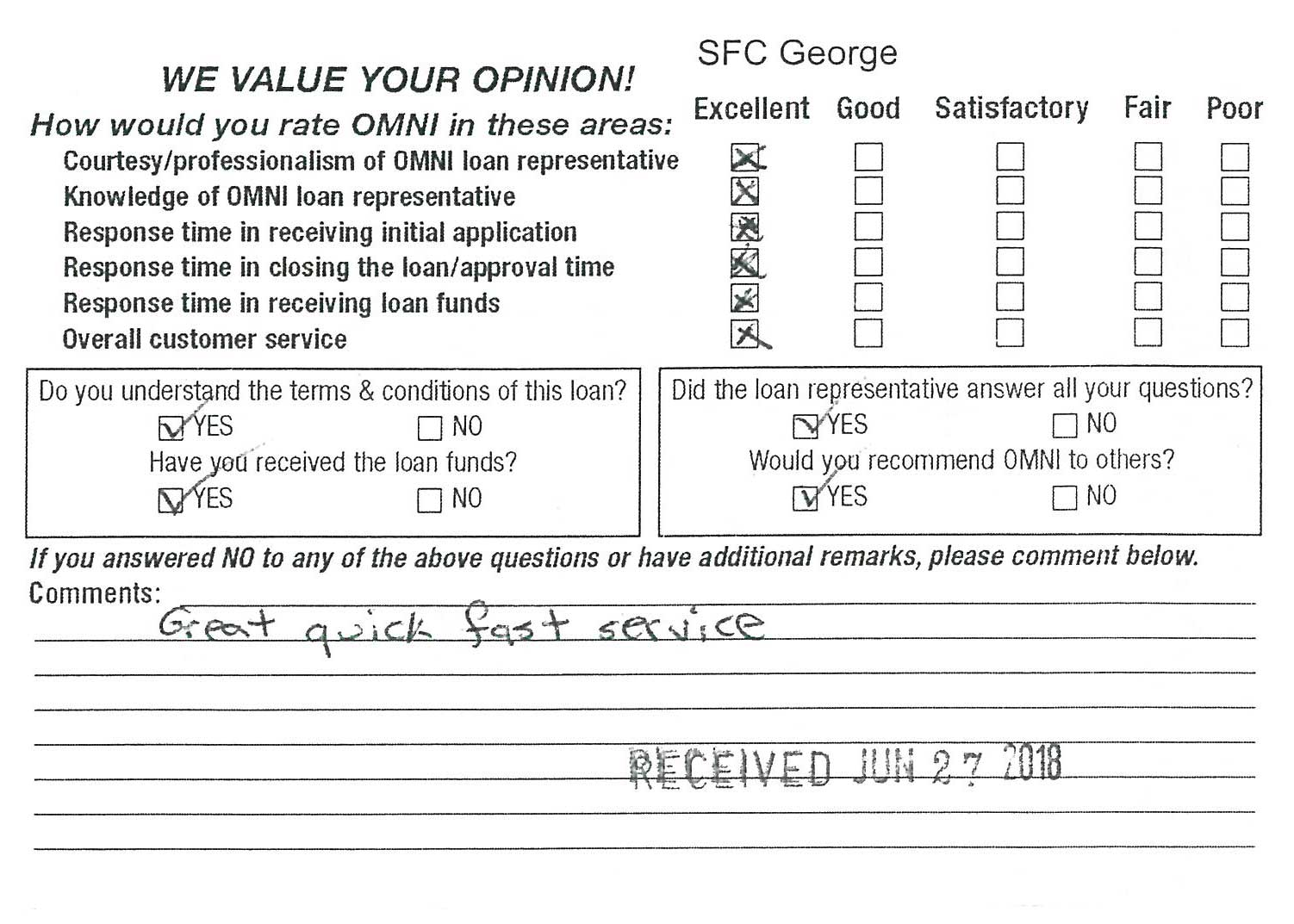 Comment card received for Omni office in Hinesville, GA on June 27, 2018