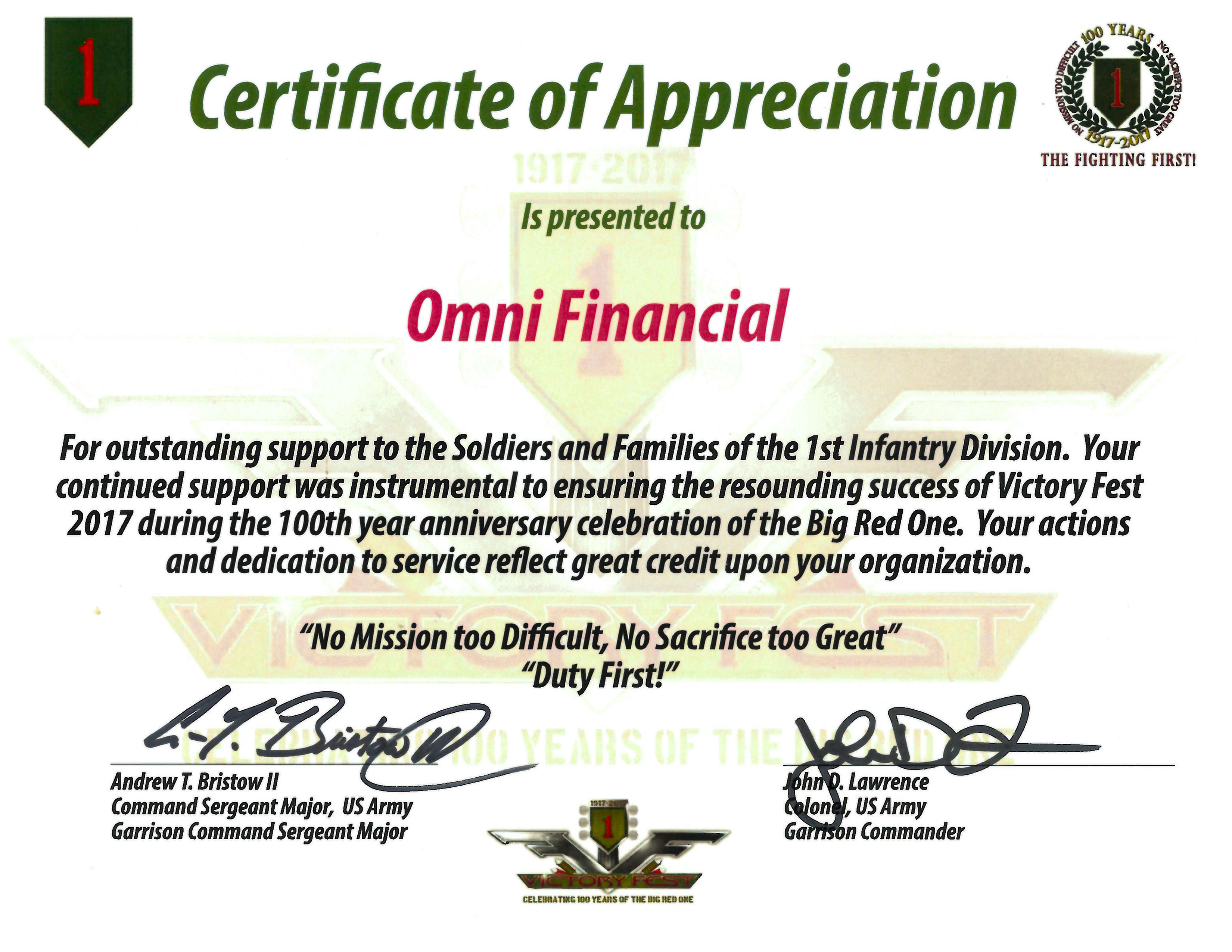 1st Infantry Division certificate of appreciation victory fest