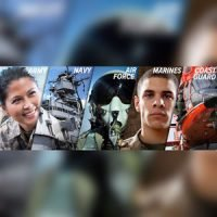 A collage featuring images representing army, navy, air force, marines and coast guard.