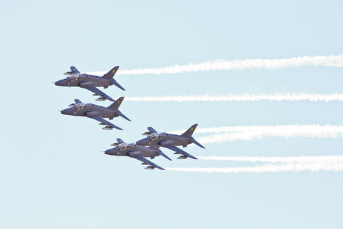 Air force jets flying in formation.
