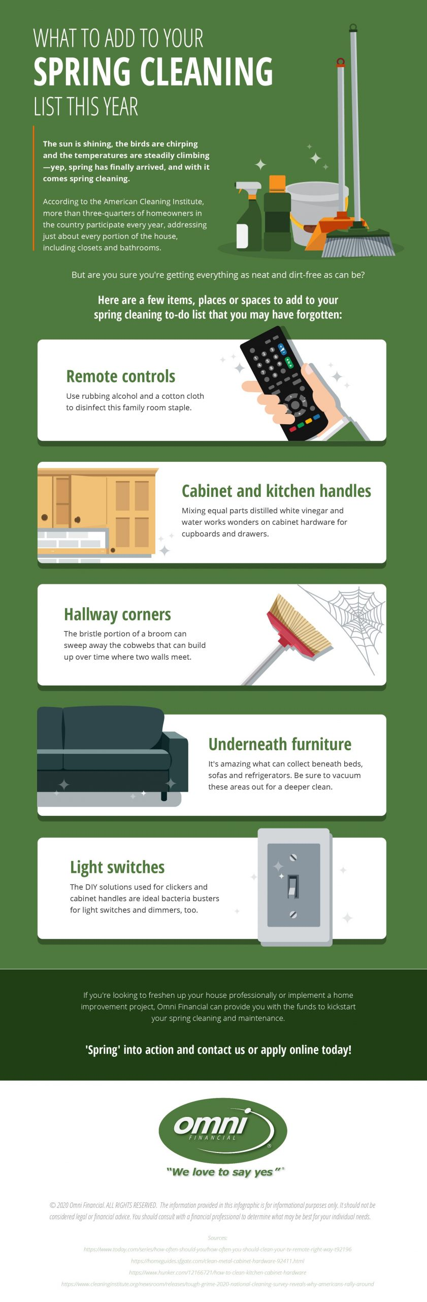List of spring cleaning tips for common areas of house