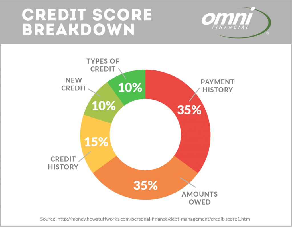 Your credit score is based on your payment history, amounts owed, length of credit history, types of credit, and new credit.