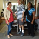 Omni's Schofield Barracks, HI office: Customer Jeff, with Omni Customer Care Specialists Lisa Mendida and Kimberley Warren.