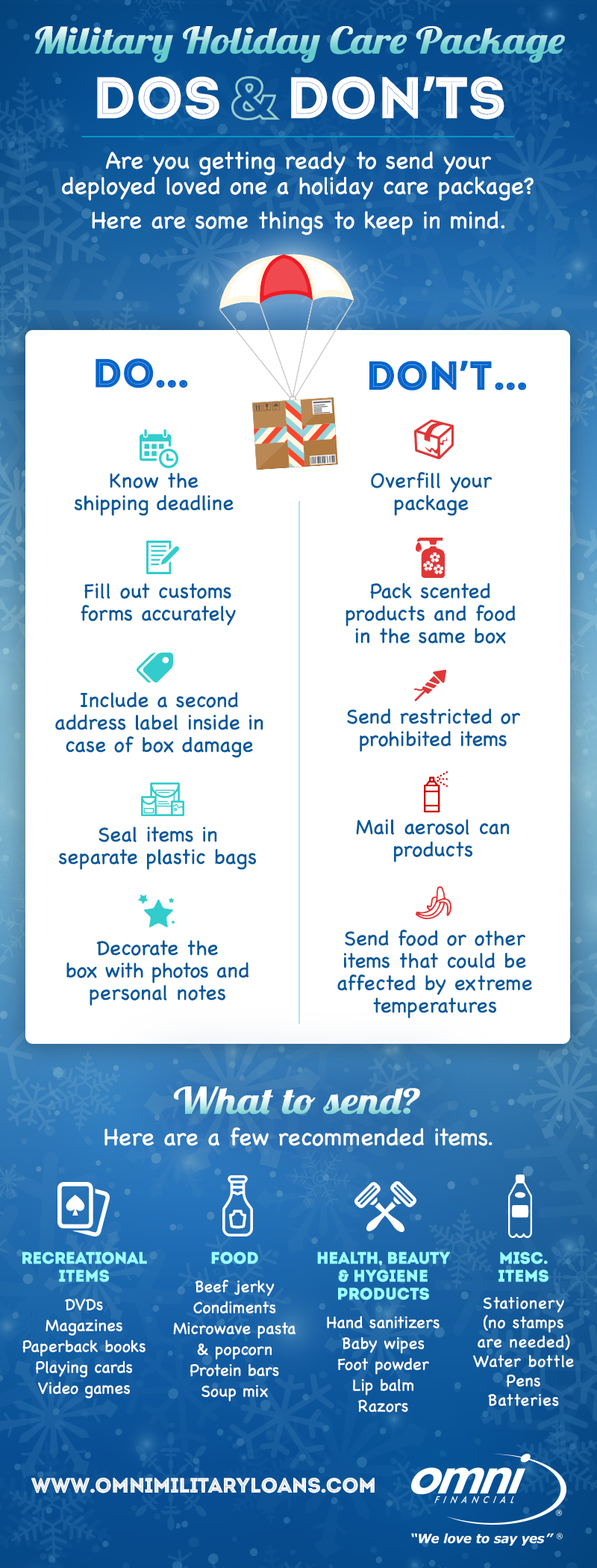 Holiday Military Care Package Dos and Don'ts Infographic