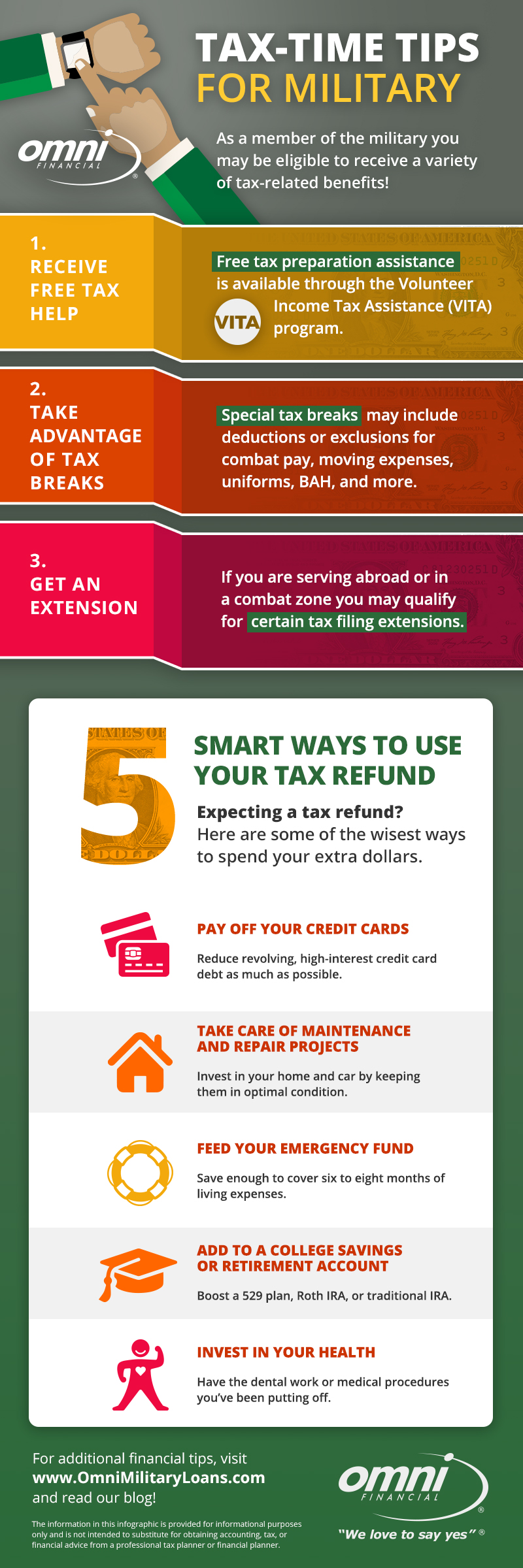 Tax-Related Tips for Military Infographic