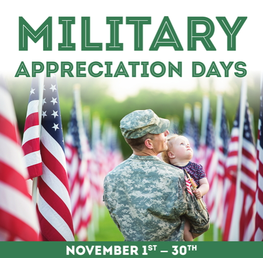 Military Discounts for Veterans Day and Military Family Appreciation Month